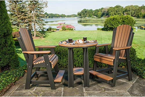 LuxCraft Recycled Plastic Counter Height Adirondack Balcony Set - Lead Time 14 Business Days