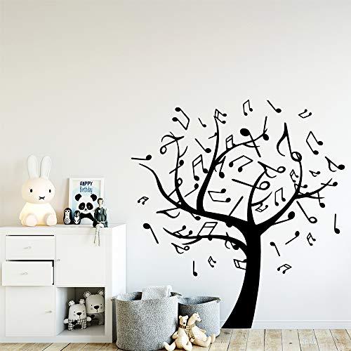 wukongsun Cute Music Tree Wallpaper Decoración para el hogar Etiqueta de la Pared para niños Habitación Decoración Vinyl Art Applique Negro XL 57cm X 61cm