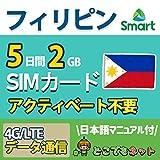 【お急ぎ便】フィリピン セブ島 高速 データ 通信 SIM カード【どこでもネット厳選】 (2GB/5日(通話なし))