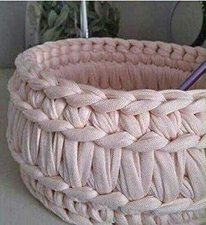 CORBEILLE PANIER, Rond, en couleur, Crocheté MAIN en COTON Recyclé (Trapillo), Pour RANGEMENTS MALINS et DECORATION de la ...