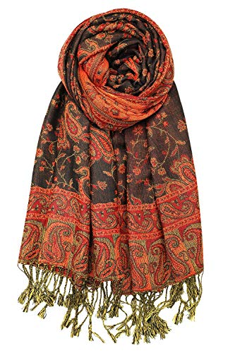 Achillea Soft Silky Reversible Paisley Pashmina Shawl Wrap Scarf w/Fringes (Black Red)