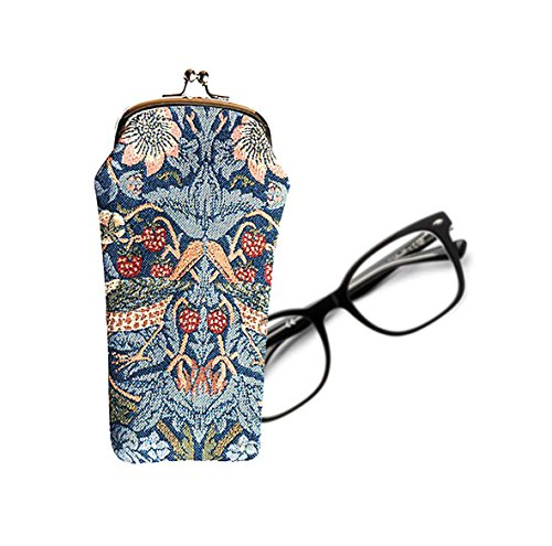 Signare Tapestry Glasses Case for Women Eyeglass Case with Vintage Designs Strawberry Thief Blue GPCH STBL