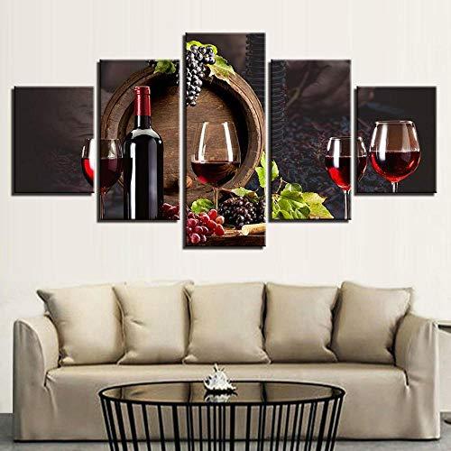 45Tdfc 5 Panel Pared Arte Pintura Cocina Vino Tinto Uvas Fotos Prints en Lienzo la Imagen Decor Aceite para decoración de hogar Moderno