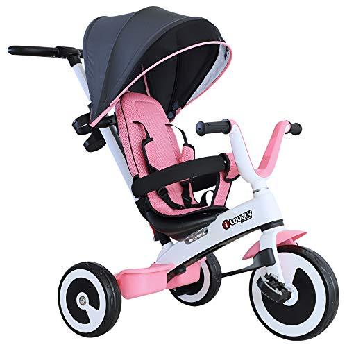 Homcom Baby Tricycle Children S Trike 4 In 1 Stroller Detachable Canopy Ride On 3 Wheels Safety Guard Pink