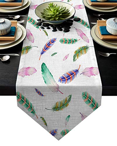 AngelSept Dining Room Kitchen Rectangular Runner 18x72 Inch Colorful Feather Kitchen Table Runners for Farmhouse Dinner
