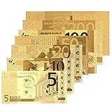 Leaftree 8 UNIDS Decoración de Billetes de Banco 5 10 20 50 100 200 500Euro 24 K Chapado en Oro Euro Antique Home Decoration Gold
