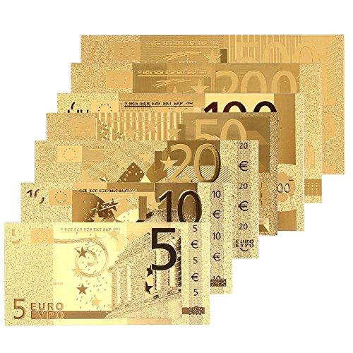 Xinzhi - 8PCS Banconote 24K Placcato Oro Euro 5 10 20 50 100 200 500Euro Decorazione di Alta qualità Placcato Oro Antico Moneta Soldi Falsi