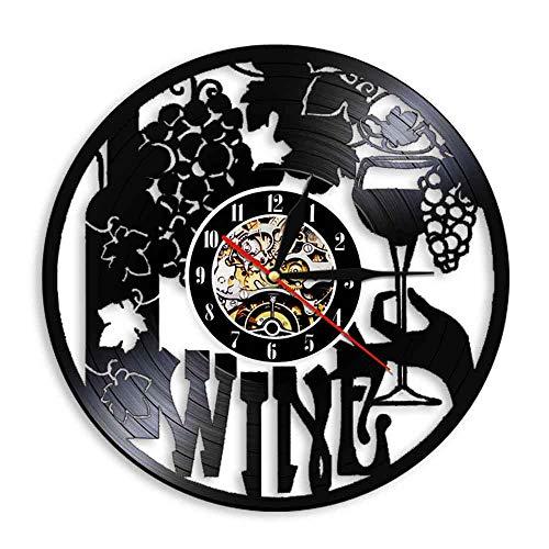 Rgzqrq Etiqueta de Vino Reloj de Pared Botella de Vino Vidrio Vid Bebida Bebida Bar Símbolo Disco de Vinilo Reloj de Pared 30x30cm