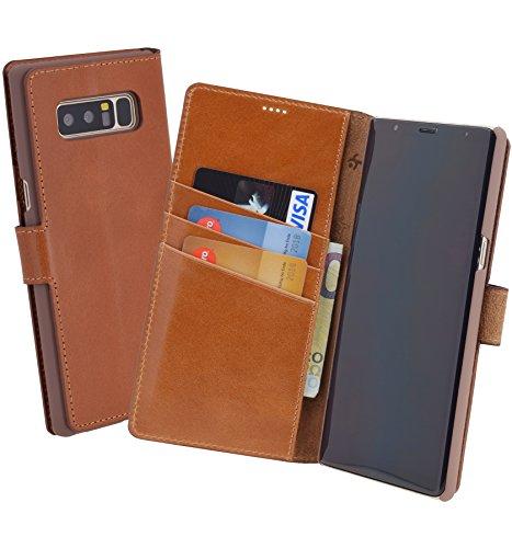 Suncase Book-Style (Slim-Fit) für Samsung Galaxy Note 8 Ledertasche Leder Tasche Handytasche Schutzhülle Hülle Hülle (mit Standfunktion & Kartenfach) Cognac