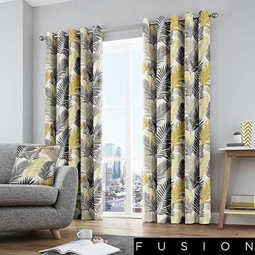 Fusion Tropical-Coppia di Tende con Occhielli, Ochre Yellow, Curtains: 46' Width x 54' Drop (117 x 137cm)
