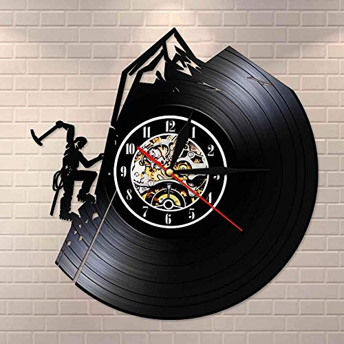 Tbqevc Reloj de Vinilo, Utilizado para Caminatas por la montaña, Aventura, Naturaleza, montaña Nevada, Regalo de decoración de 12 Pulgadas
