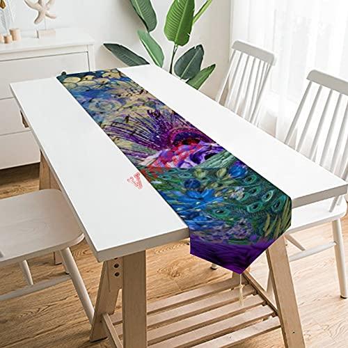 Camino de mesa bufandas de tocador, diseño de pavo real coronado en azul morado floral camino de mesa para el hogar, cocina, cena, boda, eventos, decoración - 33 x 70 pulgadas,
