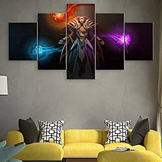 Artwap 5 Pieces Canvas Painting Dota 2 Invoker Home Decor for Living Room Printed Wall Art Game Poster Modern Artwork Pictures Cuadros size1