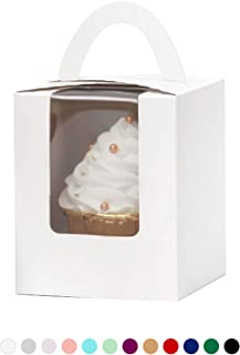 YoTruth White Auto Pop Cupcake Boxes Bulk Single 50 Count with Clear Window Inserts Handle for Wedding Cupcake Favor Boxes Easy Assembly (Classic Series)