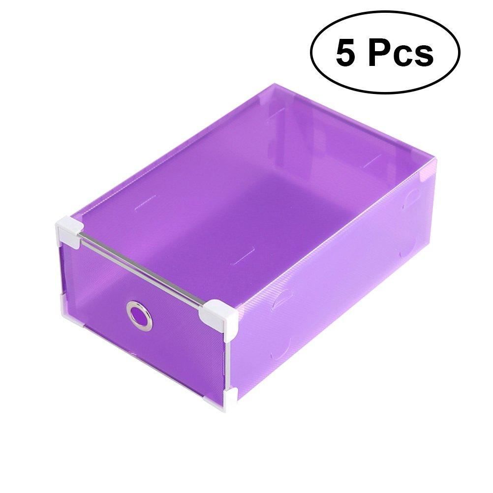 OUNONA - Caja de almacenamiento de zapatos de plástico transparente apilable para zapatos, cajón, cajón, caja organizadora para mujeres y niñas (morado): Amazon.es: Hogar