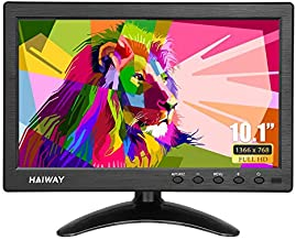 Haiway 10.1 inch Security Monitor, 1366x768 Resolution Small HDMI Monitor Small Portable Monitor with Remote Control with Built-in Dual Speakers HDMI VGA BNC USB Input for Gaming CCTV Raspberry Pi PC