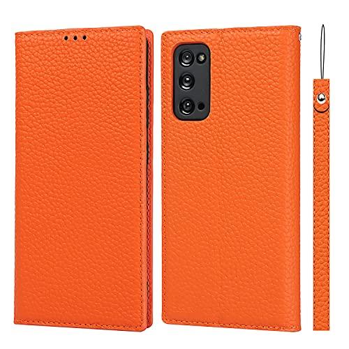 SailorTech för Samsung Galaxy S20 FE plånboksfodral, lyxig Litchi korn äkta läderfodral fodral med handledsrem folio flip telefonfodral med kort kontanter platser hållare ställ orange