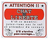 【FLAMINGO】サイン・プレート ペットモチーフ 警告サイン フランス語(放し飼い猫に注意!)503094
