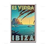 zuomo Cartel de Viaje de Estilo Retro Vintage Ibiza España ES Vedra Pintura al óleo Carteles e Impresiones sobre Lienzo Arte de la Pared para la decoración de la Sala de Estar 50x70cm Sin Marco