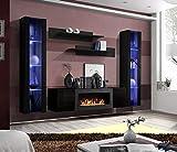 Moderner Wohnwand Kim mit Bio Kamin Anbauwand Schrankwand Weiß Schwarz 21 (Schwarz)