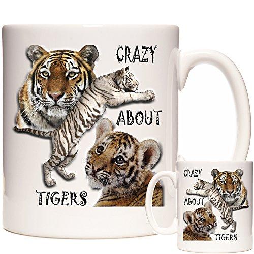 Tiger Tasse Crazy About Tigers Keramiktasse für Spülmaschine und Mikrowelle Passende Tiger-Geschenke erhältlich