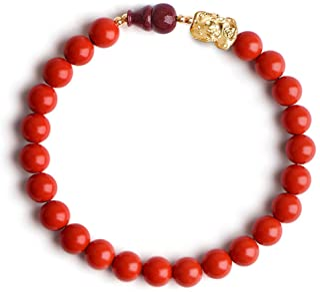 L&C Feng Shui Wealth Bracelets for Woman - 8MM Red Cinnabar Gourd Dragon Pi Xiu Sterling Silver Stretch Adjustable Beaded ...