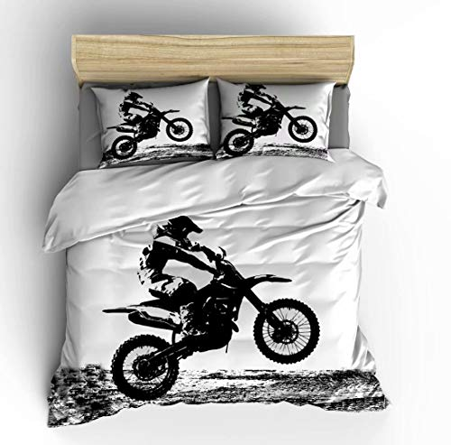 Abojoy 3D Racing Motorcycle Motocross Bedding Dirt Bike Xtreme Sports 3PC Duvet Cover Sets, Silhouette Image Men Teens Boys Kids Children Comforter Cover Bedding Set, Full Size