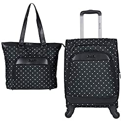 "Kenneth Cole Reaction Dot Matrix 600d Polyester 2-Piece Luggage Set Laptop Tote, 20"" Carry-on, Black"