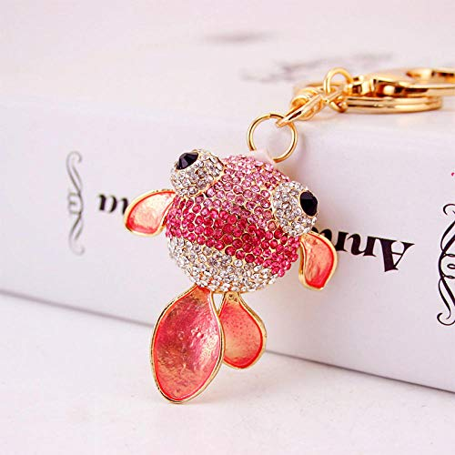 Cute Diamonds Marine Animals Goldfish Crystal Keychain Women Metal Pendant Pendant@Pink