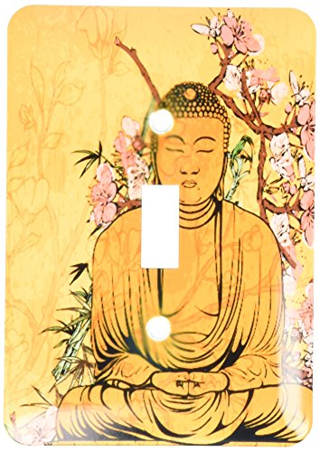 3dRose lsp_116366_1 Buddha Statue with Lovely Pink Japanese Sakura Blossom Flowers Asian Inspired Gifts Single Toggle Switch