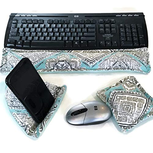Office Desk Accessories Kit, Ergonomic Keyboard Wrist Rest Pillow w Matching Mouse Pad, Bean Bag Cell Phone Stand