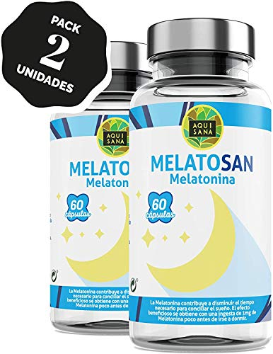 Melatonina + Valeriana + Pasiflora + Melisa - Relajante Natural para Conciliar el Sueño - Más Energía durante el Día –Sin Gluten y Sin Lactosa -120 Cápsulas – Aquisana