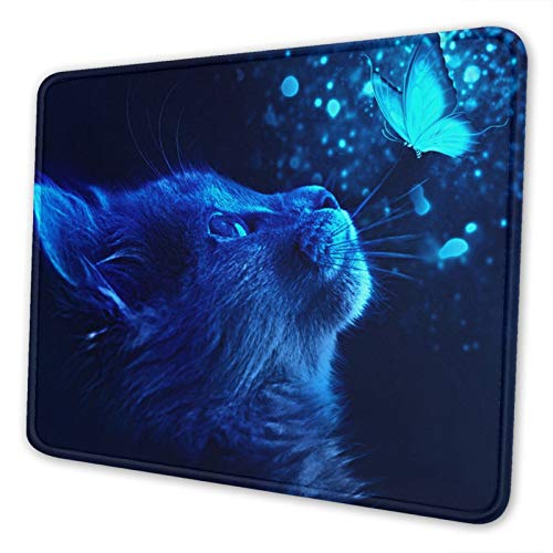 Cat and Butterfly with Blue Light Gaming Mouse Pad with Design,Waterproof and Non-Slip Rubber Base Office Mousepad 8.3 X 10.3 in