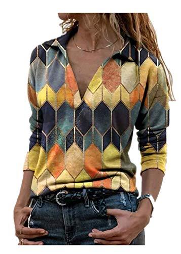 Moceal T-Shirt Damen V-Ausschnitt Color Block Top Casual Langarm/Kurzarm Top (Gelb, L)