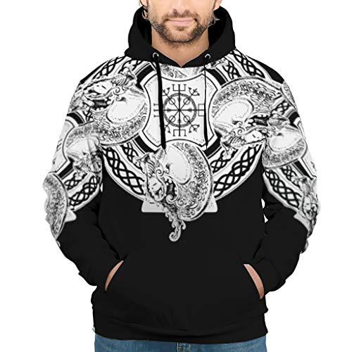 RQPPY Herren Basic Sweatshirts Hoodies Viking Tattoo Slim Kapuzenpullover Sweatjacke Für Frauen White XL