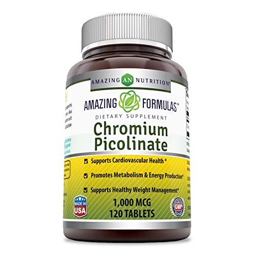 Amazing Nutrition Chromium Picolinate Supplement – Supports Healthy Weight Management & Healthy Metabolism - 1000 mcg Tablets Pills - 120 Tablets – (Non-GMO, Gluten Free) Great Value