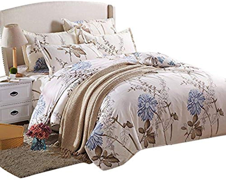 Kids Adults 4pcs Beddingset Duvet Cover Set No Comforter Duvet Cover Flat Sheet Pillowcases ZL Twin Full Queen Flower Leaf Nature Design (Queen, Happy Flower, Pink)