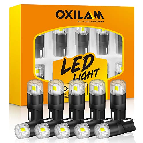 OXILAM 194 LED Bulbs 6000K White 168 2825 W5W T10 Interior Car Light Bulbs Replacement for Dome Map Door Courtesy Step License Plate Tag Lights, Pack of 10