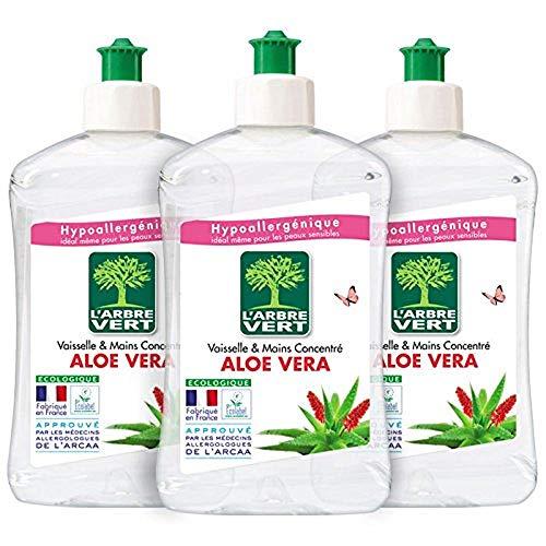 L'Arbre Vert Vaisselle et Mains Aloe Vera, 3 x 500ml