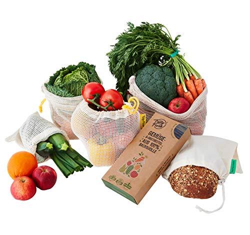 FullyFresh! | 100% BIO | Wiederverwendbare Obst- & Gemüsenetze (vegane, ungebleichte Baumwolle) INKL. Brotbeutel & Kräuterguide | Gemüsebeutel für plastikfreien Einkauf | Premium Zero Waste Netze