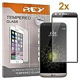 REY 2X Protector de Pantalla 3D para LG G5, Negro, Protección Completa, 3D / 4D / 5D