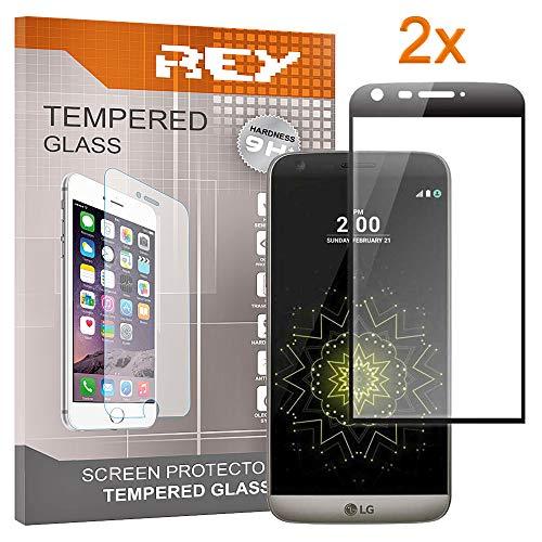 REY Pack 2X Panzerglas Schutzfolie für LG G5, Schwarz, Displayschutzfolie 9H+, Polycarbonat, Härte, Anti-Kratzen, Anti-Öl, Anti-Bläschen, 3D / 4D / 5D