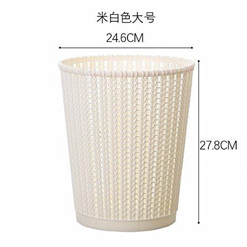Bacs à ordures extérieurs Xiuxiutian Couvercle en plastique salon chambre à coucher wc poubelle 24,6 27,8*cm, beige