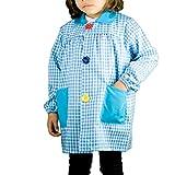 KLOTTZ - Babi cuadros guardería Bata escolar con botones y amplio colorido. Protección ropa en comedores y manulidades en casa. Niñas color: TURQUESA talla: 4