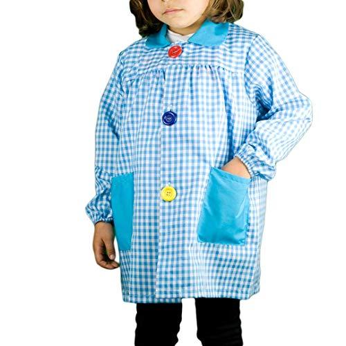 KLOTTZ 901B - Babi cuadros guardería Bata escolar con botones y amplio colorido. Protección ropa en comedores y manulidades en casa. Niñas color: TURQUESA talla: 4