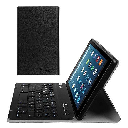 Fintie Tastatur Hülle für Amazon Fire HD 8 Tablet (7. & 8. Generation - 2017 & 2018) - Ultradünn Ständer Schutzhülle mit magnetisch abnehmbar drahtloser Bluetooth Tastatur, Schwarz