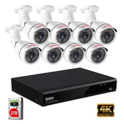 Tonton 5MP Security Camera System Outdoor,8-Channel Ultra HD 4K 8MP DVR Recorder with 2TB HDD,8PCS 5MP Waterproof Bullet Cameras,Smart Motion Detection and Alerts,Metal Housing,Easy Remote Access