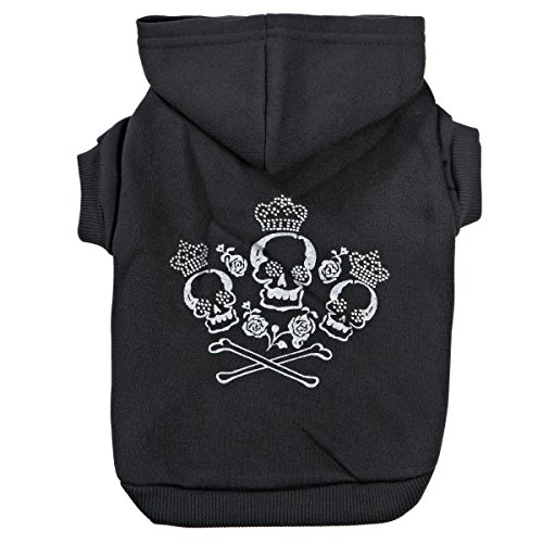 Zack & Zoey Crowned Crossbone Dog Hoodie with Skull & Crossbones and...