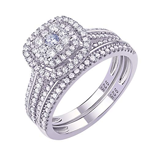 Newshe Engagement Rings for Women Wedding Ring Set 925 Sterling Silver Band 1.6Ct Round Cz Size 7