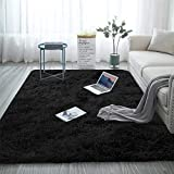 Aujelly Alfombra suave para dormitorio Shaggy de Soft Area Rug, color negro, 180 x 270 cm